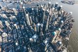 Fototapeta Nowy Jork - Blockchain Concept and City Network of Manhattan