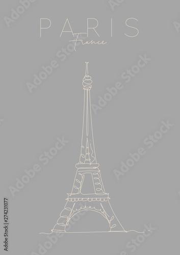 Poster paris eiffel tower grey