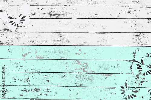 Foto auf Gartenposter Schmetterlinge im Grunge space for text, wooden boards, silhouette of butterfly on wooden background
