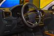 Beautiful new car interior. Vehicle controls panel.