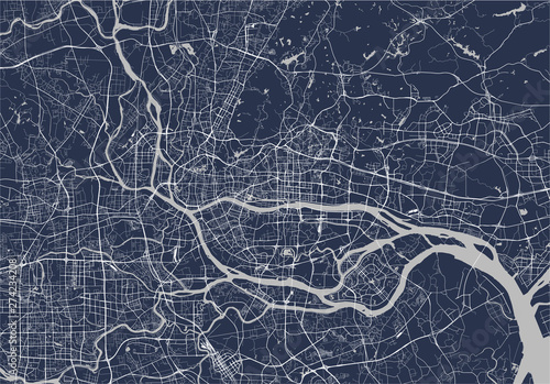 vector map of the city of Guangzhou, Canton, Kwangchow, People's Republic of Chi Tablou Canvas