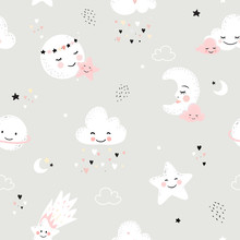 Seamless Pattern With Cute Moon, Stars, Clouds. Perfect For Baby Background, Kids Room Wallpaper, Baby Shower Card, Fabric And Wear. Nursery Vector Illustration.