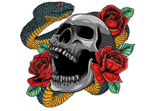 Colorful Tattoo Design With Skull, Roses And Snake. Illustration.