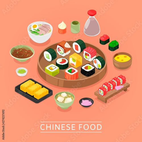 Chinese sushi vector food box, plate, chopsticks, top view