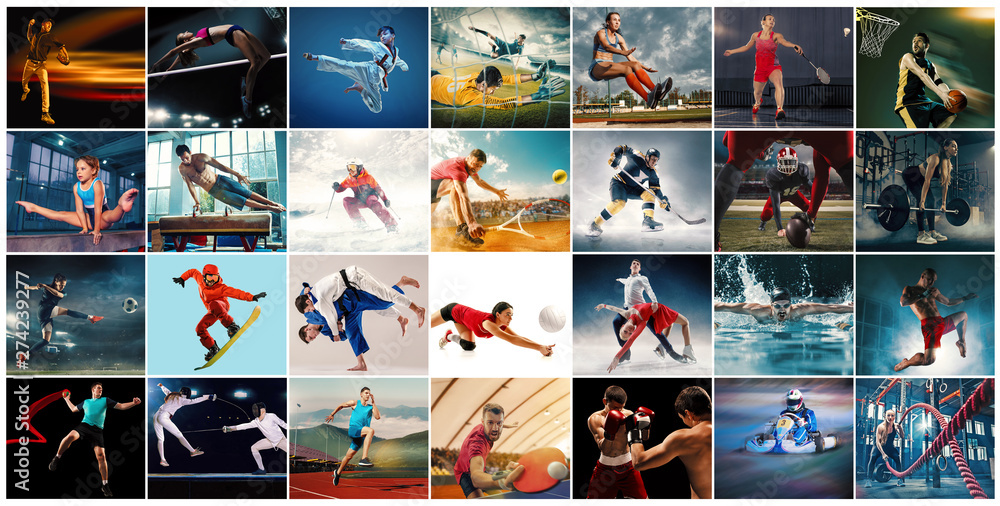 Fototapety, obrazy: Creative collage made of photos of 29 models. Tennis, running, badminton, swimming, basketball, handball, volleyball, american football, rugby players, snowboarding, tennis, hockey in motion.