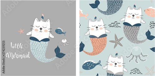 obraz lub plakat set of cute cat mermaid print and seamless pattern with cat mermaids. vector