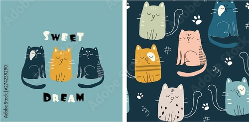 Fototapeta set of cute cat print and seamless pattern with cats. vector obraz
