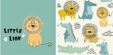Set Of Cute Lion Print And Seamless Pattern With Lions. Vector