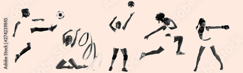 Fototapeta  Young female sportswomen, creative collage
