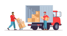 Moving House Service Flat Vector Illustration