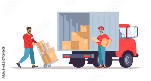 Obraz Moving house service flat vector illustration - fototapety do salonu