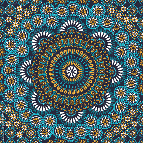 Ταπετσαρία τοιχογραφία Decorative colorful seamless pattern in mosaic ethnic style