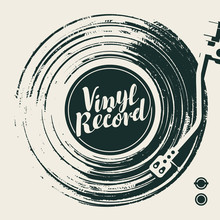 Vector Music Poster With Old Vinyl Record, Record Player And Calligraphic Lettering In Retro Style. Music Collection