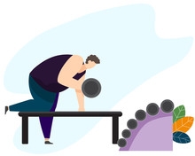Strong Man Working Out With Dumbbells In Fitness Gym. Athletic Guy Doing Exercise With Dumbbell In Various Pose In Gym. Vector Character Design. Health And Medicine Concept Vector Illustration.