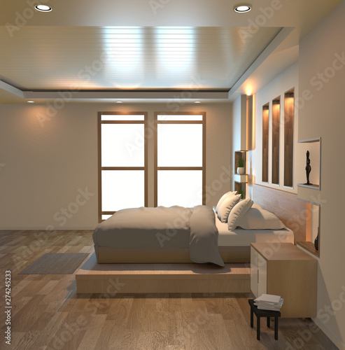 Modern Zen Peaceful Bedroom Japan Style Bedroom With Shelf Wall Design Hidden Light And Decoration Japanese Style 3d Rendering Buy This Stock Illustration And Explore Similar Illustrations At Adobe Stock Adobe