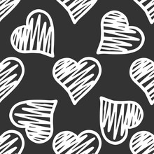 White Hearts Seamless Pattern On Black Background. Valentines Day Backdrop.