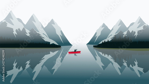 Poster Militaire red canoe sailing on a blue lake