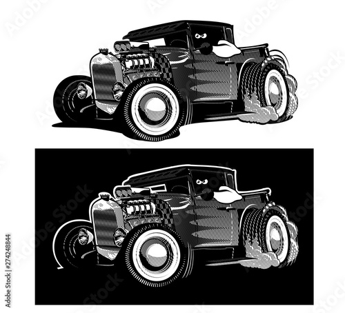 Fotomural Cartoon retro hot rod isolated black and white