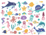 Fototapeta Fototapety na ścianę do pokoju dziecięcego - Big set of cute marine inhabitants.