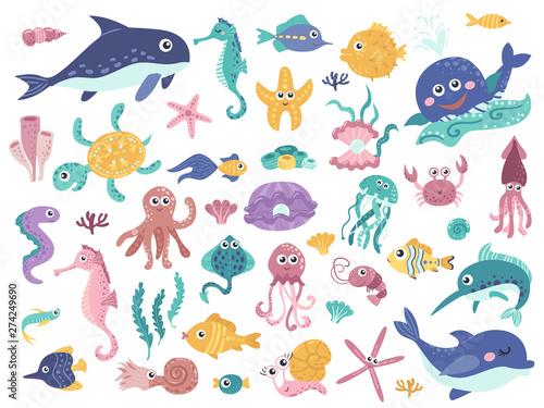 Photo Big set of cute marine inhabitants.