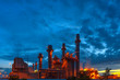 Petrochemical plant at sunset, Twilight In the industrial area Eastern Thailand.
