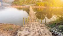 Bamboo Bridge Crossing The Riv...