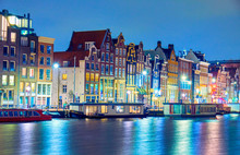 Amsterdam At Night, The Netherlands.