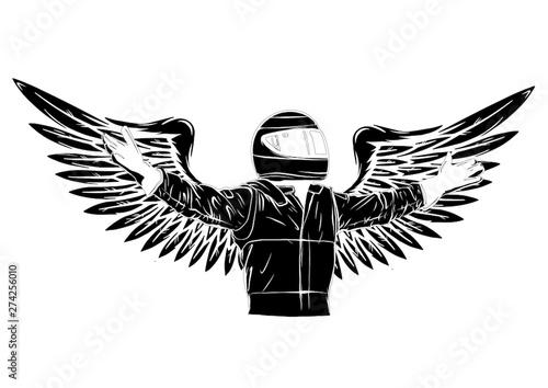 Canvas Print Car racing man cartoon vector illustratio design
