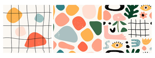 Set of three seamless patterns. Hand drawn various shapes and doodle objects....