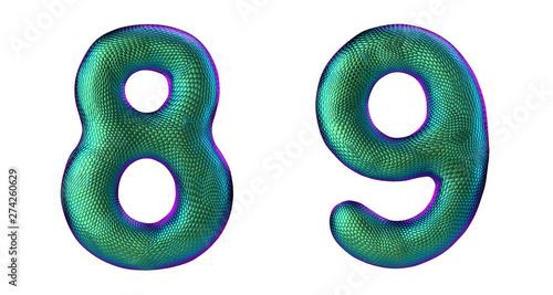 Tela  Number set 8, 9 made of realistic 3d render green color