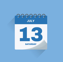 Day Calendar With Date July 13.