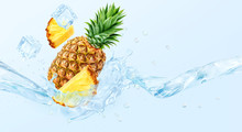 Fresh Cold Pure Pineapple Water With Pineapple And Waves 3D Splash. Pineapple Water, Lemonade, Smoothie, Cocktail Wave Swirls. Healthy Flavored Detox Drink Splash Banner Concept With Water, Ice Cubes