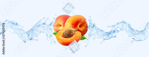 Fresh cold pure apricot water with apricots and 3D waves splash. Peach water or soft drink wave swirls. Healthy flavored detox drink splash design elements with apricots, water, ice
