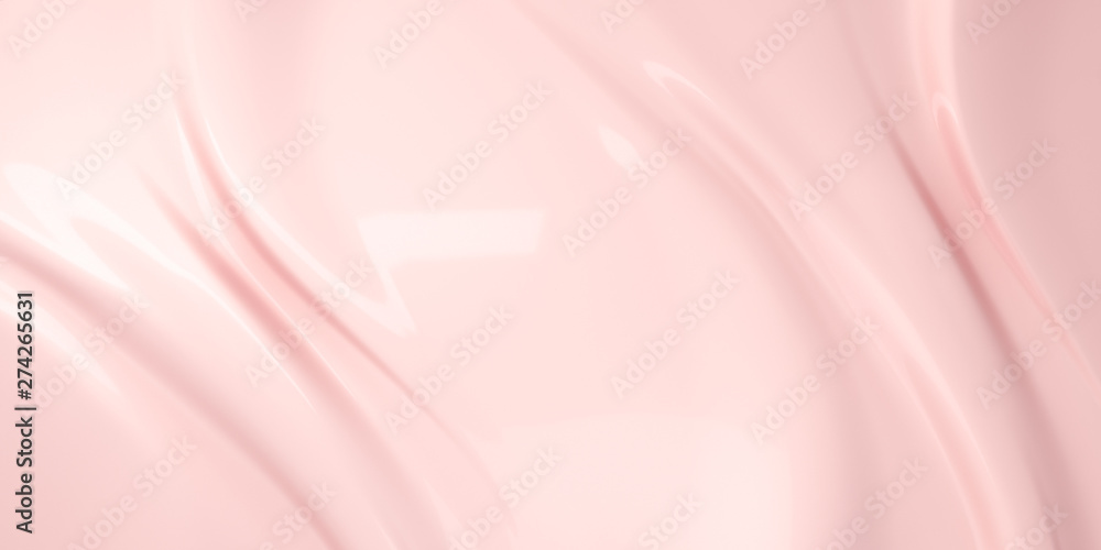 Fototapety, obrazy: Liquid subtle pink background, cosmetic cream texture, 3d illustration