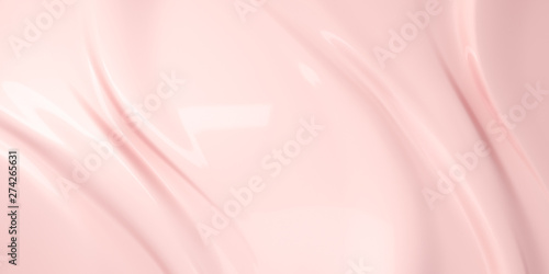 Fotografia Liquid subtle pink background, cosmetic cream texture, 3d illustration