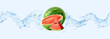 Fresh cold pure watermelon water with watermelon and waves 3D splashes. Watermelon water drink or cocktail wave swirls. Healthy flavored detox drink splash with water design elements