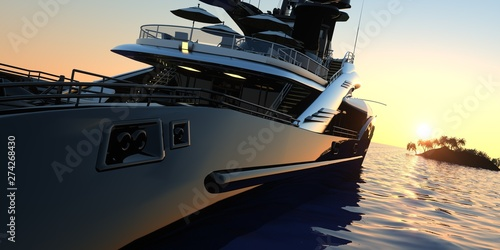 Fotografie, Obraz  Luxury Super Yacht Extremely Detailed and realistic High Resolution 3D Illustrat