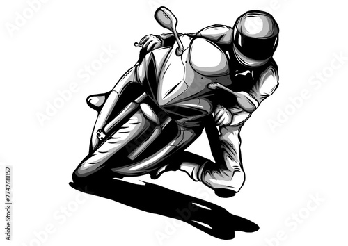 Fototapeta biker, motorcycle grunge vector silhouette, retro emblem and label illustration