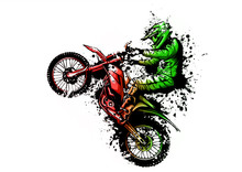 Motocross Rider Ride The Motocross Bike Vector Illustration