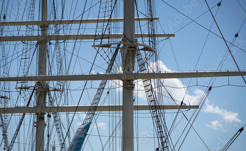 Fotografie, Obraz  Detail view of the upper masts for the rigging of a large sailing ship, maritim
