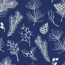 Seamless Pattern With Pine Branches, Cones, Holly Berries, Mistletoe, Fir, Thuja And Dry Twigs. Hand Drawn Vector Illustration On Dark Blue Background.