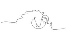 One Line Drawing. Horse And Wo...