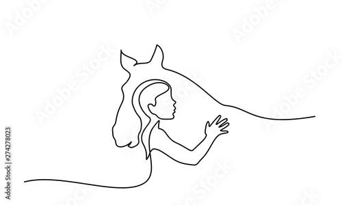 jeden-rysunek-linii-logo-glowy-konia-i-kobiety