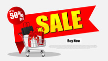 Stack Of Shopping Black Friday Sale Poster With Shopping Cart And Bags