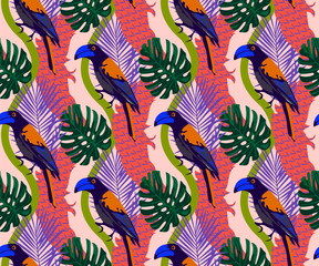 Tropical wildlife, bird seamless pattern. Hand Drawn jungle nature, flowers illustration. Print for textile, cloth, wallpaper, scrapbooking
