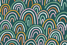 Vector Seamless Pattern  Multicolor  Irregular Hand Drawn Arched Lines. Abstract Background