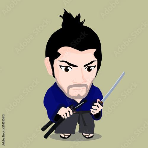 Fotografie, Obraz Cute cartoon character of Miyamoto Musashi