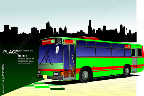 Photo sur Toile Pixel Green-red city bus on town panorama. Coach. Vector illustration