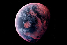 Realistic Alien Planet In The Outer Space, 3d Rendering