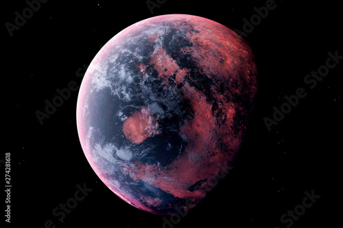Fotografia, Obraz Realistic Alien Planet in the outer space, 3d rendering